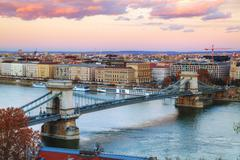 Overview of Budapest at sunset Stock Photos