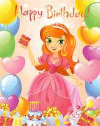 Happy Birthday, Princess, greeting card. Stock Illustration