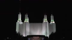 Mormon LDS Washington DC Temple night zoom in HD Stock Footage