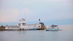 OHRID, MACEDONIA, JUNE 2015: Ships traveling at the Ohrid lake. Stock Footage