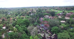 HIGH ANGLE 4K AERIAL FLY OVER OF UBUD CITY IN BALI INDONESIA - stock footage