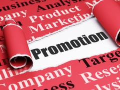Stock Illustration of Marketing concept: black text Promotion under the piece of  torn paper
