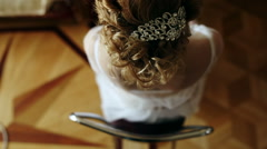 hair girl bride with curls and beautiful barrette - stock footage