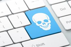Medicine concept: Scull on computer keyboard background Stock Illustration