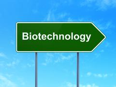 Science concept: Biotechnology on road sign background - stock illustration