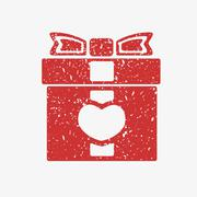 Stock Illustration of Icon red gift box with bow, covered in white grit