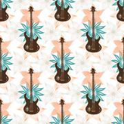 Seamless background with bass guitar and flowers.. Music wallpaper. - stock illustration