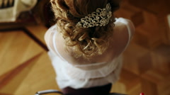 Hair girl bride with curls and beautiful barrette Stock Footage