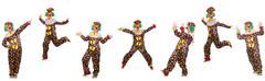 Set of clown photos isolated on white - stock photo
