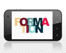 Studying concept: Smartphone with Formation on  display Stock Illustration