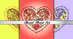 Set of decorative hearts with floral ornament. - stock illustration