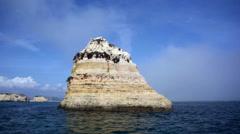 Sailing around Atlantic ocean rocky island, Lagos, Algarve, Portugal Arkistovideo
