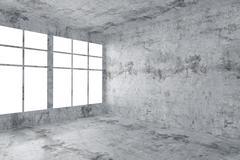 Empty concrete room corner with window interior - stock illustration