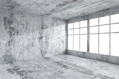 Stock Illustration of Empty concrete room corner with windows, abstract interior