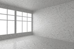 Empty spotted concrete room corner with window interior - stock illustration