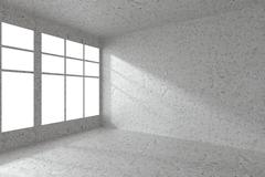 Empty spotted concrete room corner with windows - stock illustration