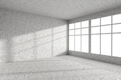 Empty spotted concrete room corner with windows interior Stock Illustration