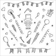 Carnival symbols collection - carnival masks, party decorations. - stock illustration
