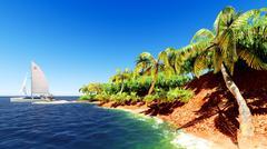 Beautiful tropical island - stock illustration