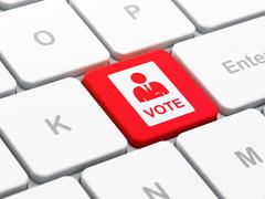 Stock Illustration of Politics concept: Ballot on computer keyboard background
