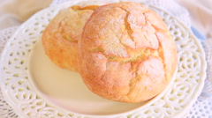 Rotating bread rolls fresh and crusty - stock footage