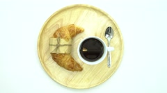 Stock Video Footage of Breakfast, Breakfast set, tray of coffee, croissant, Ready to eat,space for text