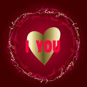 Hand drawn typography card. Valentine love card Stock Illustration