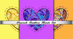 Set of hearts cards with peacock feathers ornament. - stock illustration