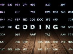 Programming concept: Coding in grunge dark room - stock illustration