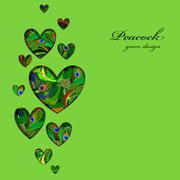 Valentine hearts card with peacock feathers ornament. - stock illustration