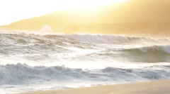 Sunset over spectacular waves at Conspicuous Beach in South West Australia Stock Footage