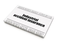 Insurance concept: newspaper headline Industrial Accident Insurance Stock Illustration
