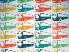 Travel concept: Bus icons on Digital Paper background Stock Illustration