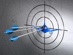 Stock Illustration of Travel concept: arrows in Aircraft target on wall background