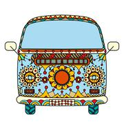 van in Tangle Patterns style - stock illustration