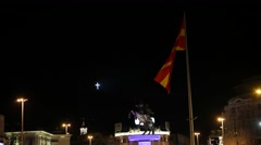 Alexander the Great statue, Macedonian flag in Skopje city center Stock Footage
