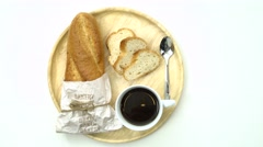 Stock Video Footage of Breakfast, Breakfast set, tray of coffee, baguette, Ready to eat, space for text