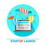 Flat concept background with hot air balloons. Project start up - launch Stock Illustration