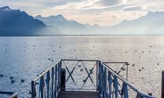 Beautiful view on Geneva Lake and Alps - stock photo