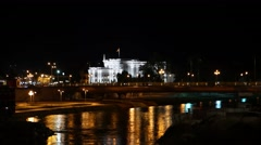 Government building and Vardar River at Skopje Macedonia Stock Footage