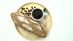 Breakfast, Breakfast set, tray of coffee, baguette, Ready to eat, space for text - stock footage