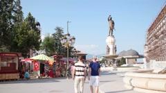 SKOPJE MACEDONIA - JULY 2015: Everyday life at city center of Skopje Stock Footage