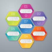 Vector illustration infographics seven hexagons - stock illustration