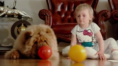 Child and dog Stock Footage