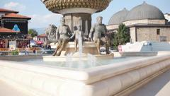 Alexander the Great's father Philip's statue in Skopje city center Stock Footage