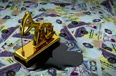 Gold Pumpjack And Spilled Oil On United Arab Emirates Dirham Stock Illustration