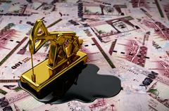 Gold Pumpjack And Spilled Oil On Saudi Riyals - stock illustration