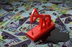 Red Pumpjack And Spilled Oil On United Arab Emirates Dirham Stock Illustration