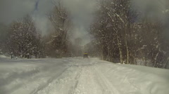Snowmobile winter snow mountain trail POV HD Stock Footage