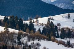 mountainous area  on winter morning - stock photo